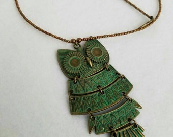 Satin Bronze Beaded Necklace with a Pentia Green & Bronze Vintage Style Owl Pendant