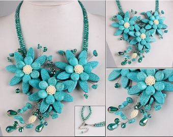 Handmade Turquoise Shell Flower Austria Crystal Bib Necklace