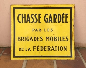 French metal sign industry vintage ADVERTISING chasse hunting