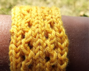 yellow knitted bracelet