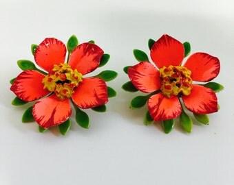 Vintage Colorful Enameled FLOWER POWER Clip Earrings