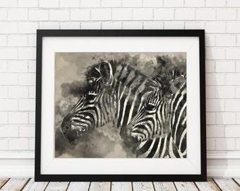 Zebra Watercolor Print - Zebra Painting - Zebras Watercolor Painting - Black White Painting - Watercolor Art Print Zebra Art Animal Wall Art