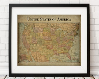 United States Map Print, Vintage Map Art, Antique Map, Map Poster, US Map, Wall Art, USA Map, History Gift, United States Art, America Map,
