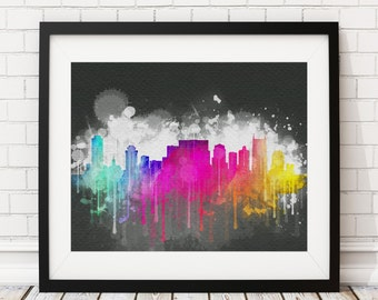 Nashville Skyline Print, Nashville Art, Nashville Print, Watercolor Art, Watercolor Painting, Nashville Wall Art, Poster, Nashville TN, Gift