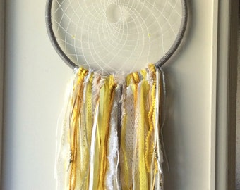 Sweet sunshine yellow giant dream catcher, bohomian, boho, dreamcatcher, bedroom decor, nursery, handmade, art, wall hanging, wall art