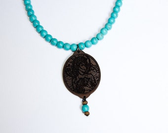 Japanese Pendant Necklace blue summer wood and beads