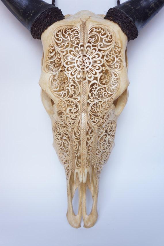 Korting gesneden koe schedel decoratie gesneden skull for Decoratie schedel