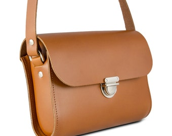 Tan Small Leather Crossbody/Shoulder Bag, Made in London