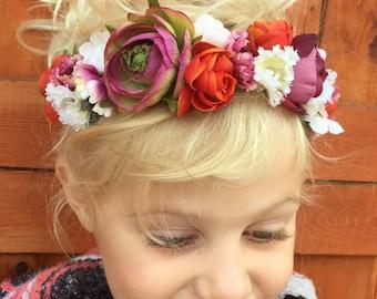 Baby Flower Headband, Flower Headband, Baby Flower Crown, Peony Headband, Newborn Photo Prop, Floral Headband, Flower Girl Headband