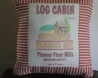 Feed Sack throw pillow...Pancake Mix