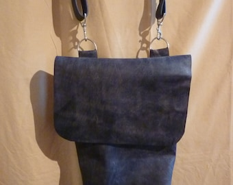 Distressed Charcoal Grey Leather Messenger Bag /4-5oz weight / 5 Pockets / Crossbody Strap /Sturdy & Rugged