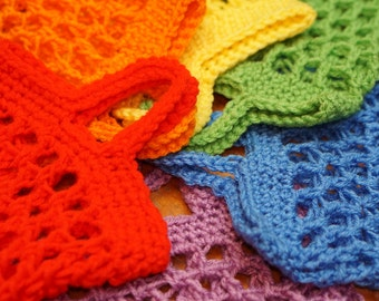 Set of 6 crochet mini market bags