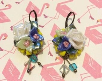 Bouquet earrings / ceramic swarovski