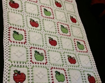 Cross-stitch Apple Baby Blanket