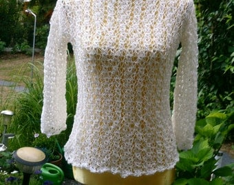 Knitted jumpers, reticulation, white, Gr. 36-38 (S-m)