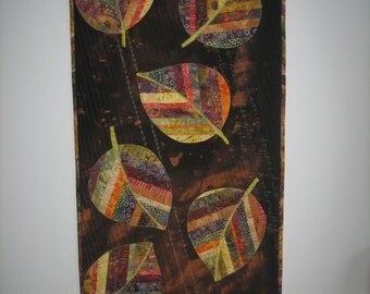 Quilted wall hanging, textile art, fibre art, home decor, Is It Autumn Already?