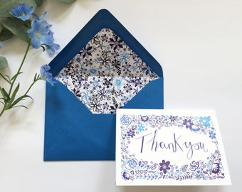 Thank you Card Blue Floral Design with Matching Lined Envelope