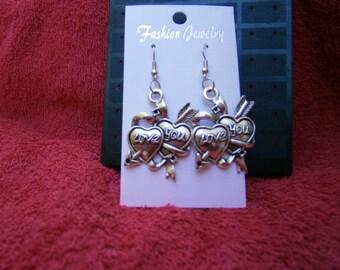 love you heart earrings