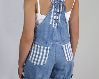 denim shorts overalls with gingham pattern / 90s checkered overalls with laceup / S - M /