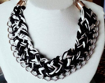 Gorgeous braided black and white necklace, Statement necklace, chunky bib necklace