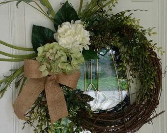Sage & Cream Hydrangea Wreath