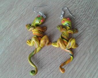 Lizard earrings  orange yellow black, gecko reptile handmade fimo earrings, polymer clay