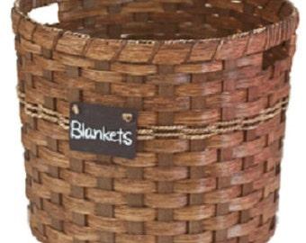 Utility Basket, Amish Hand Woven Natural Reed Basket