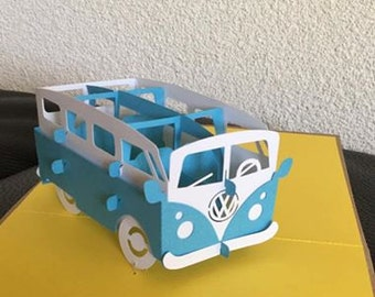 Vintage VW bus pop up card