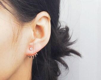 Rose Gold Ear Jacket, Front Back Earrings, Ear Jackets, Spike Ear Jacket, Double Sided Earrings, Stud Earrings, Minimal Earring