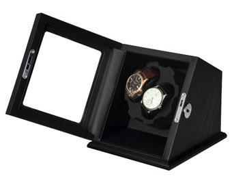 Black Wood Automatic Dual Watch Winder Display Case