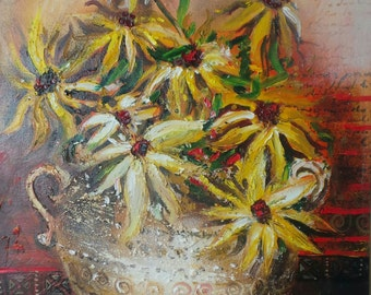 Original Yellow flowers oil painting