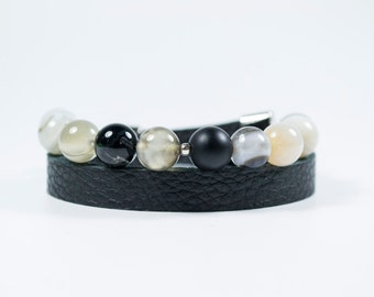 Jade Beads and Real Leather To Side Bracelet. Mandes Bracelets - Black Miracle - Real Leather and Natural Stone Beads.