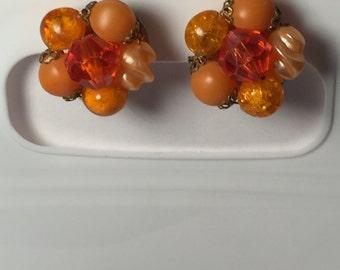 Vintage Earrings Cluster Orange beaded clip on Made in Western Germany