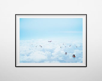 "Poster / poster A3 - photo-collage surrealism - photomontage - ""Not high"" - clouds, bathing & aircraft - Clouds, bathing, flat"