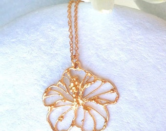 Hibiscus Flower necklace, Gold Hibiscus Flowers, Silver Hibiscus Flowers, Floral necklace, Flower pendant, Bridal jewellery, bridal jewelry