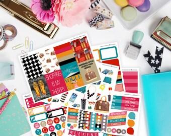 Fashionista- Fashion Planner Sticker Kit for Erin Condren, Happy Planner Stickers, etc. Watercolor Fashion, Style
