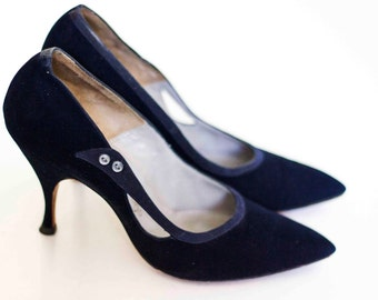 Size 7.5 Paris-Rome Designed Vintage Women's Heels, Dark Blue Pumps, Vintage Ladies' Shoes, Bellissa Dark Blue Women's Vintage Heels