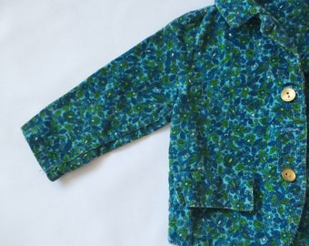 Childrens' teal blue floral blazer