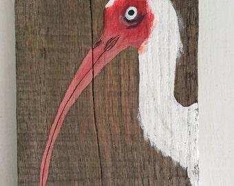 Ibis Painting on Repurposed Wood