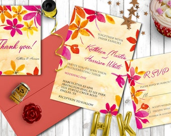 Wedding invitation set, Printable wedding invitation kit, Floral colorful wedding invitation, rsvp, thank you card