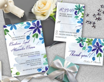 Wedding invitation set, Printable invitation kit, Wedding invites, RSVP, thank you card. Floral wedding suite