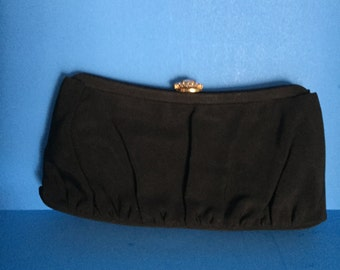 Garay Vintage Black Clutch with Rhinestone Top Clasp