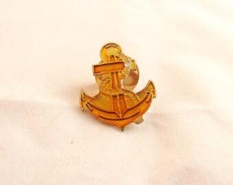 Vintage Yellow Enamel Anchor Pin, Signed American Gag Bag, 1988, Nautical Brooch, Plastic Back