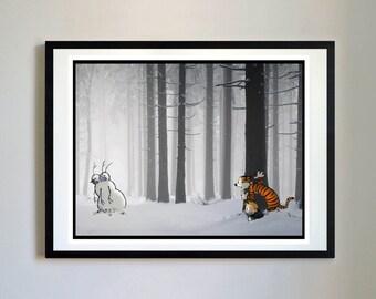 Calvin and Hobbes #62 - Snow Monster Comic Panel, Nursery Art Print, Decor, Poster, Picture, Childrens Art, Kids Room