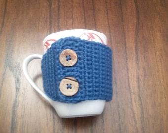 Coffee Cozie in Blue, Coffee Accessories, Coffee Cozy, Coffee Lovers Gift, Coffee Hugger