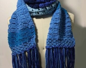 Crochet Handmade Scarf Shades of Blue with Fringe Accent