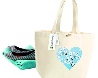 Organic Tote Bag - Printed with Cuteheart design