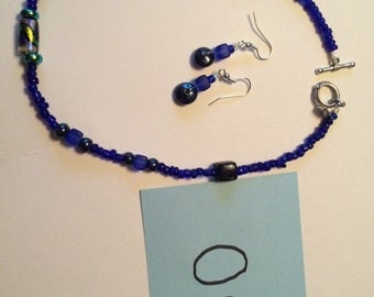Beaded Necklace and Dangle Earrings