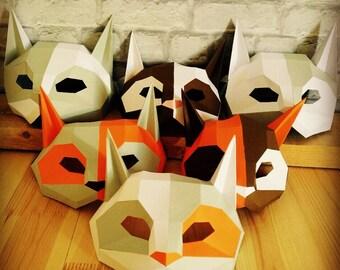 DIY Cat mask/Paper cat mask/DIY mask/Fancy dress/Halloween Mask/Printable Templates/Animal Mask/Kitten Mask/