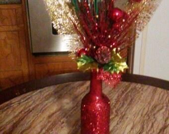 Red Glitter Wine Bottles 6 pc Set Centerpieces holidays Weddings